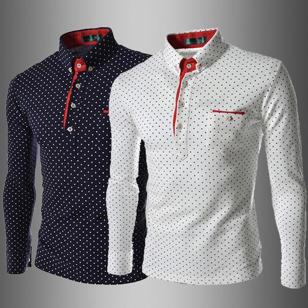 外贸2019新款 男款英伦时尚波点 男士休闲修身长袖潮T恤衫7519