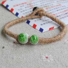 波西米亚风格手链女 景德镇陶瓷手工编绳手链复古风韩版麻绳手链