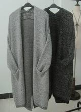欧洲站秋装新款韩国原单中长款休闲宽松大码毛衣针织衫女开衫外套