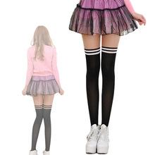 女日系拼接假高筒襪子 條紋天鵝絨連褲襪 大腿襪長筒襪批發