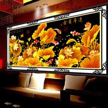 5d鉆石畫新款金色鴻運客廳裝飾畫連年有余立體貼鉆十字繡直銷批發
