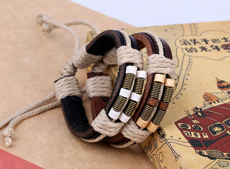 New style leather bracelet bronze spring wood beads leather bracelet wholesale woven bracelet retro bracelet NHPK184612