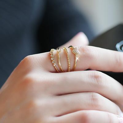 韩版人气关节戒指 时尚甜美精美爱心微镶锆石4层开口戒指环女