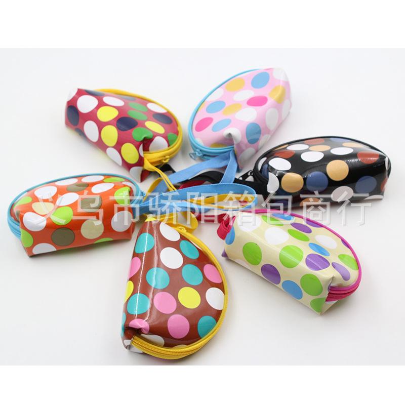 义乌骄阳箱包厂家 专业定做 Pu彩色圆点图案手提零钱包。