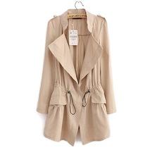 韓版女裝2018年春季新品 休閑抽繩收腰鹿皮絨風衣中長款薄款外套