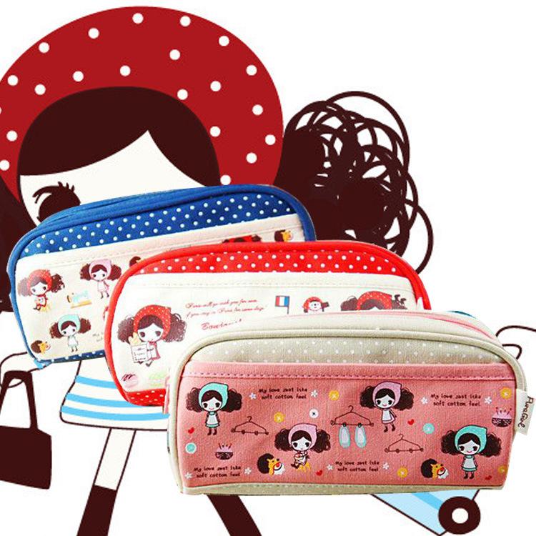 韩国文具 普拉女孩笔袋 新款小清新创意笔帘 帆布大容量批发