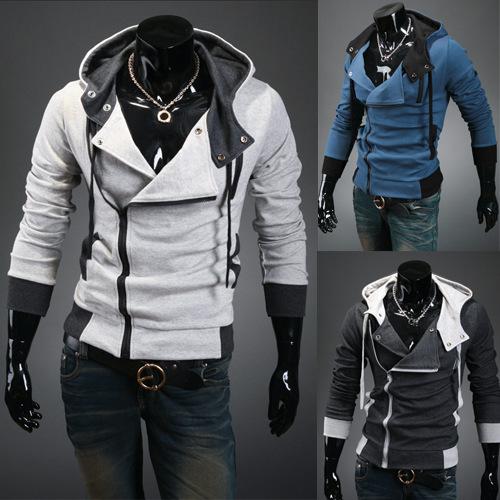 外贸韩版修身拉绒拼色卫衣外套男士斜门襟卫衣加大码刺客信条卫衣