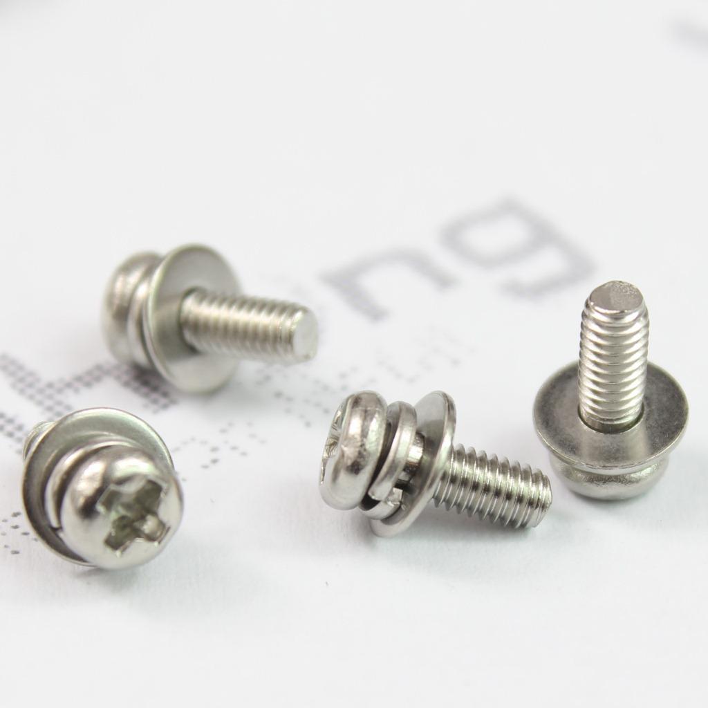 厂家现货 304不锈钢 十字槽圆头三组合螺丝 十字盘头组合螺钉