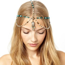 欧美时尚镶钻链条松石蓝宝石发带发发饰 新款头饰批发 CF048