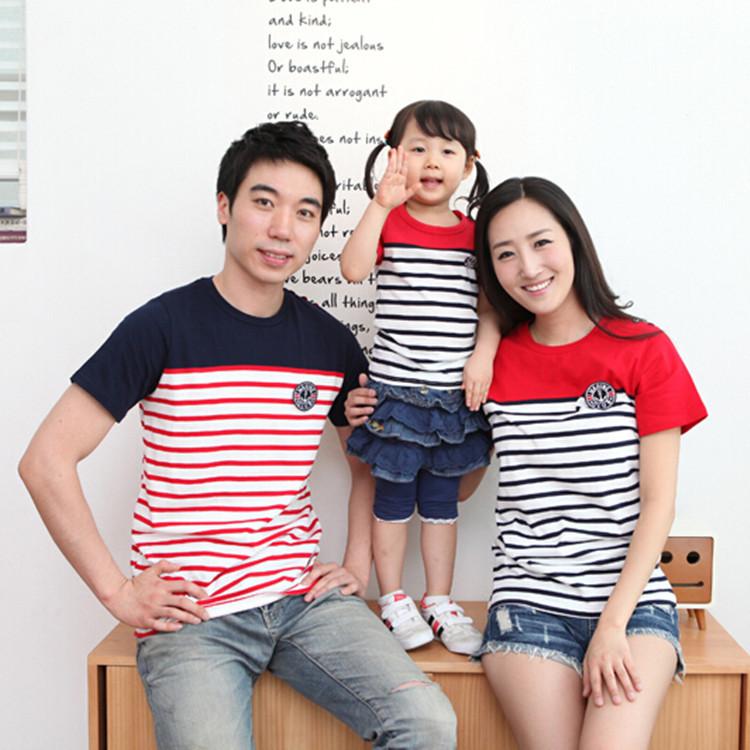 亲子装条纹夏装新款2019韩版纯棉拼接短袖t恤大码全家装厂家直销