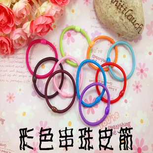 Seamless beaded 4mm thick rubber band wholesale candy color small beaded rubber band pure color rubber band
