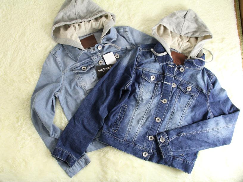 日本日式 复古连帽戴帽卫衣 休闲牛仔外套 夹克男女中性款 女