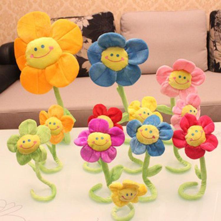 厂家批发卡通太阳花创意窗帘扣向日葵花束公仔毛绒玩具娃娃礼物