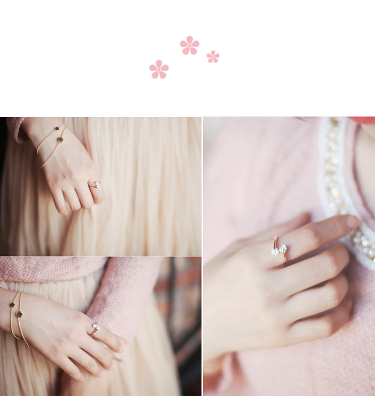 Literary crystal sweet peach heart vintage magic color female ring ring diamond ring NHMS177178