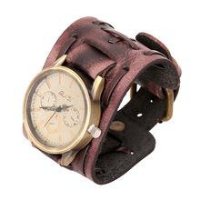 欧美跨境爆款饰品复古做旧编织牛皮手链表宽皮朋克男士手表手镯
