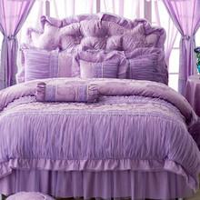 新款韩版套件蕾丝大红 粉色紫色四六件套 全棉婚庆床品床上用品
