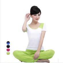 春夏新款短袖瑜伽服套裝 正反兩穿瑜珈服 舞蹈健身服女