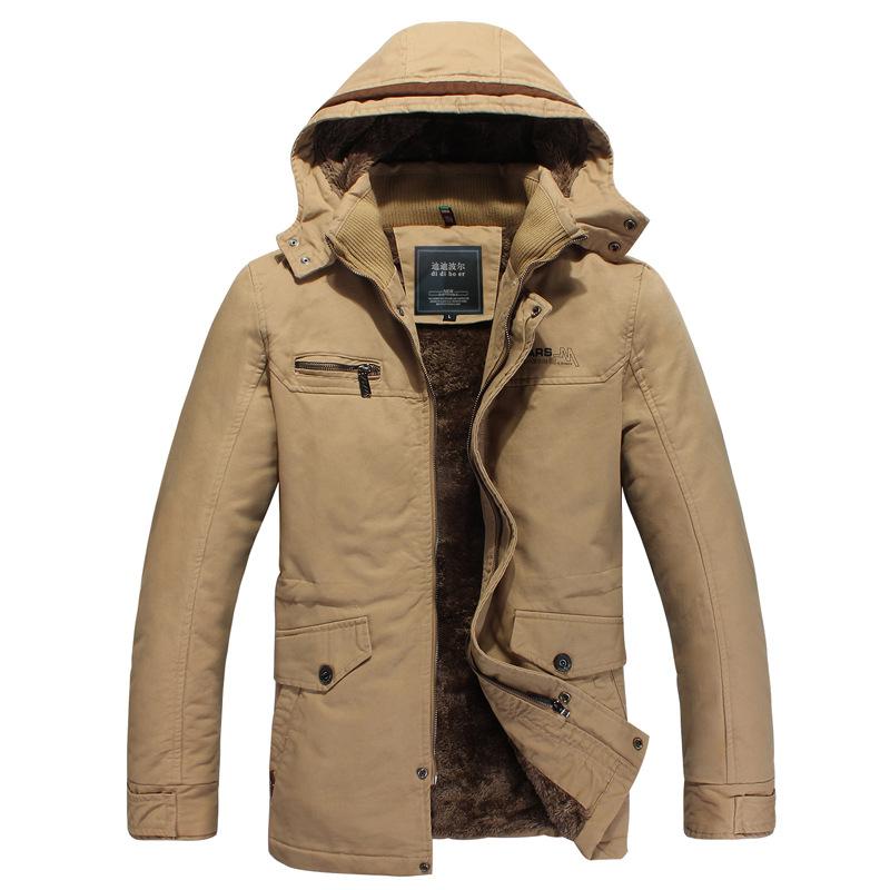 外贸 男式上衣欧美中长款修身加厚大码纯棉水洗外套加绒棉衣