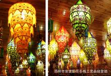 印度尼泊爾手工藝鏡片麻布拼色燈罩布藝燈籠民族風布燈三層