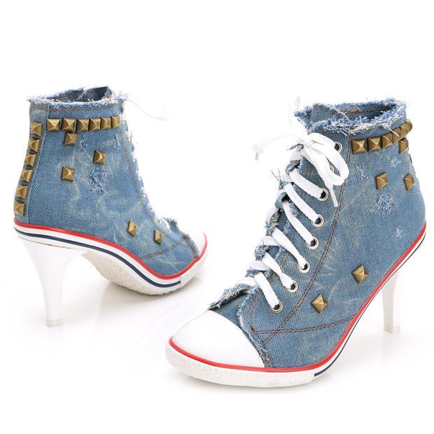 新款韩版女鞋牛仔高跟鞋 铆钉潮款帆布鞋  新款爆款女鞋 欧美