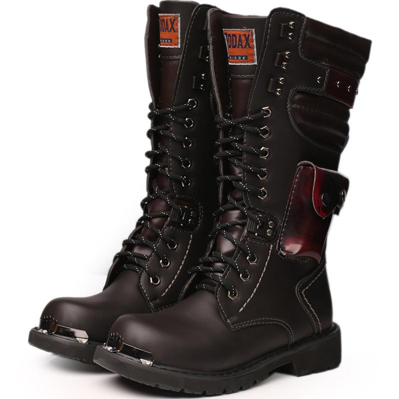 厂家直销外贸爆款男士高筒靴户外军靴 潮流大码大头皮靴工装靴