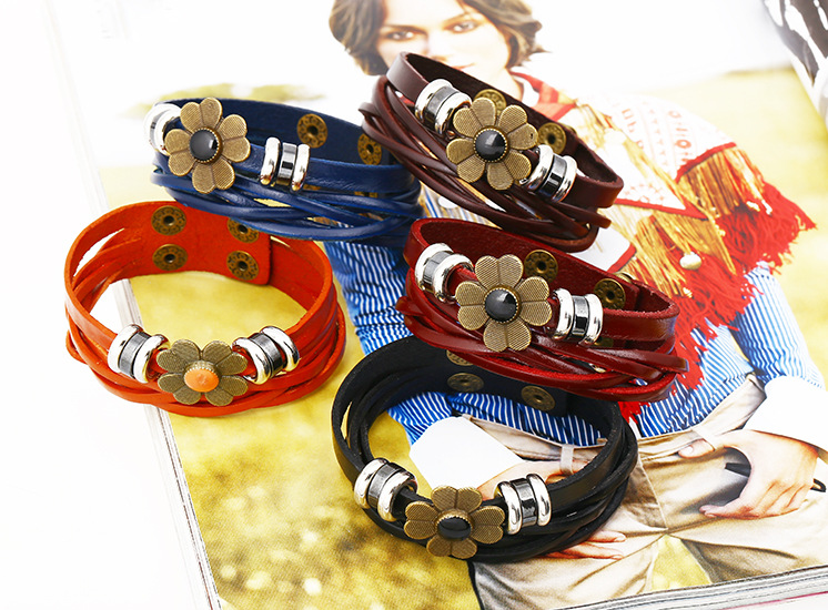 Leather Korea Geometric bracelet  (red) NHPK1588-red
