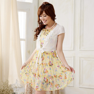 The new princess refreshing chiffon floral sling covering the shoulder plus size two-piece short skirt dress 9707