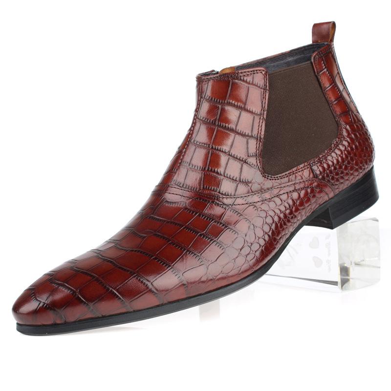 秋冬男士高帮正装商务皮鞋 真皮男靴 英伦尖头拉链牛皮皮靴子