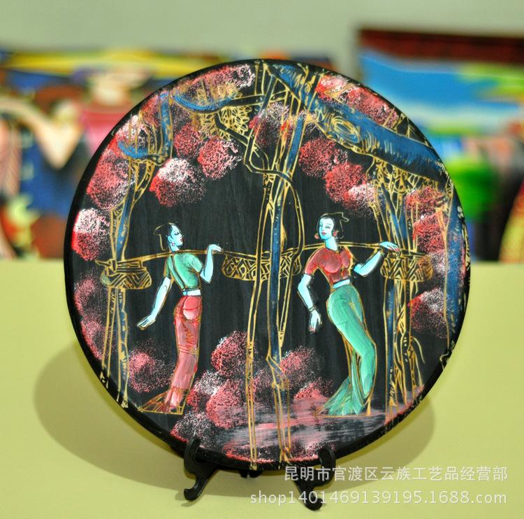 云南民族特色手工雕刻东巴木刻画工艺品摆件 中式客厅装饰画饰品