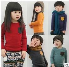 童装代发春秋外贸长袖糖果色上衣 韩版童t恤长袖 儿童春秋打底衫