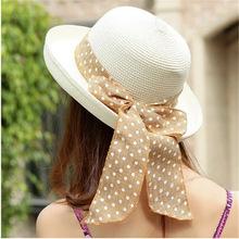 女士圆点飘带超大蝴蝶结翻沿草帽出游沙滩帽 遮阳帽子批发