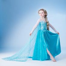 歐美外貿爆款童裝冰雪奇緣 女童frozen冰雪公主cosplay連衣裙