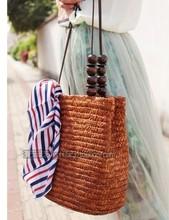 木珠配饰草编包 麦草折口包 丝巾包 韩国女包  带夹层休闲手提包