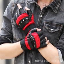 厂家提供男士真皮保暖半指手套户外运动骑车露指网眼羊皮手套批发