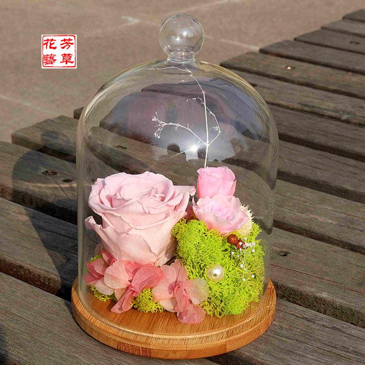 永生花玻璃罩摆件保鲜花批发直销 三八节520七夕节礼物玫瑰花礼盒