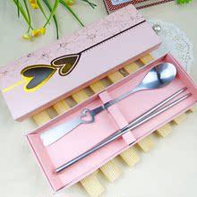 婚礼婚庆回礼小礼物 创意礼品餐具 情侣对勺 粉盒勺筷套装