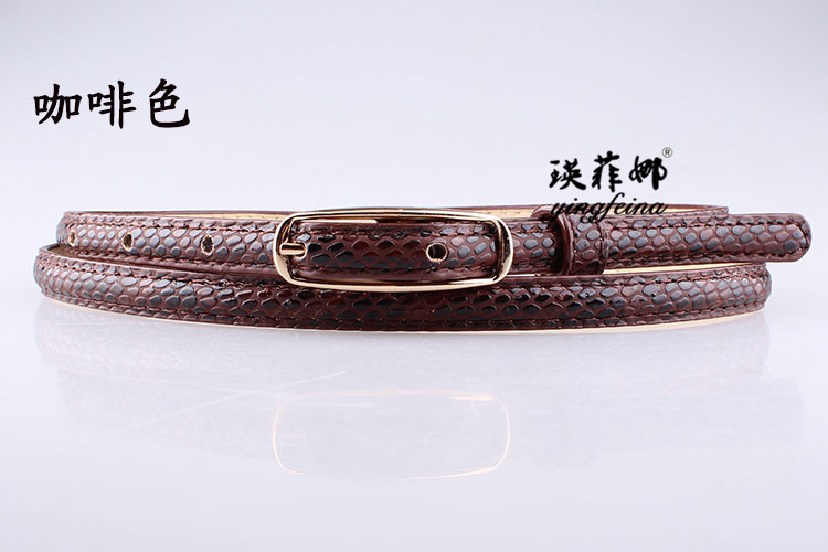 Fashion woman leather metal buckle stone thin belt strap for dress jeans NHPO134075