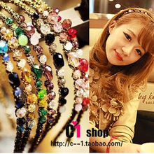 韩国发夹发饰 超闪不规则水晶发箍缠绕宽头箍  二元店饰10g