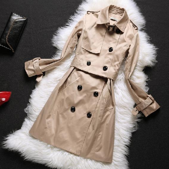 欧洲站大牌新款 两件套风衣中长款 B家高端女装外贸批发 廓形大衣
