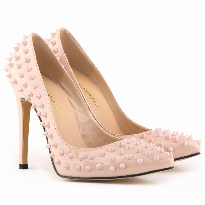 classic pointed lattice-windows nightclub sexy rivet with tide of women's shoes's main photo