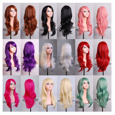 Wavy Hair Wigs C long curly air roll high temperature multi curl cos anime wig