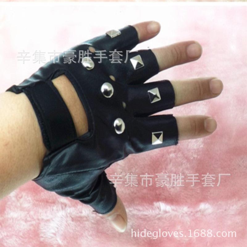 厂家批发真皮手套朋克街舞铆钉半指真皮手套男士露指演出表演手套
