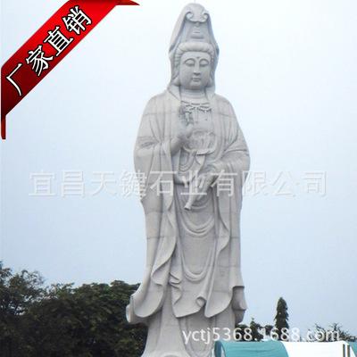 湖北宗教雕刻制品厂家直销风水镇宅汉白玉滴水观音佛像