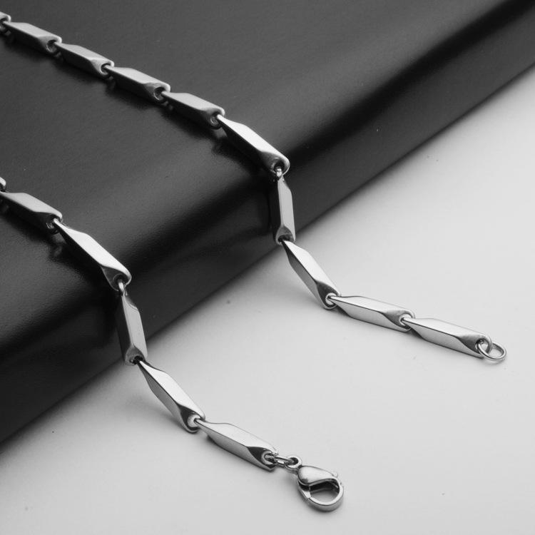316不锈钢项链钛钢配链3MM粗菱形手工四方链批发50cm长欧美饰品