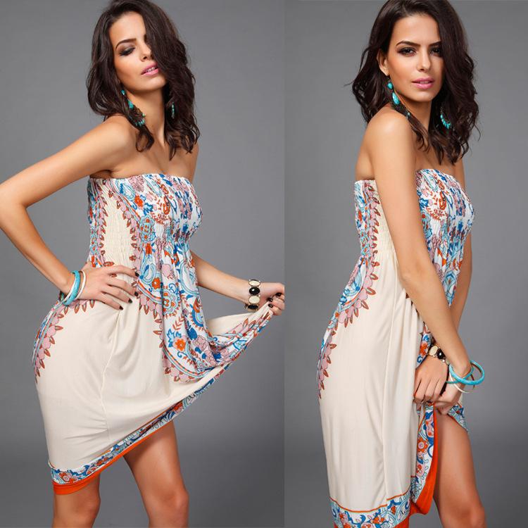 Polyester Fashiondress(Khaki-M) NHDF0201-Khaki-M