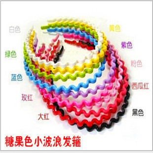 Large Korean hair accessories, candy-colored plastic headband, instant noodle wave headband, Binary store stall, Tianzhu
