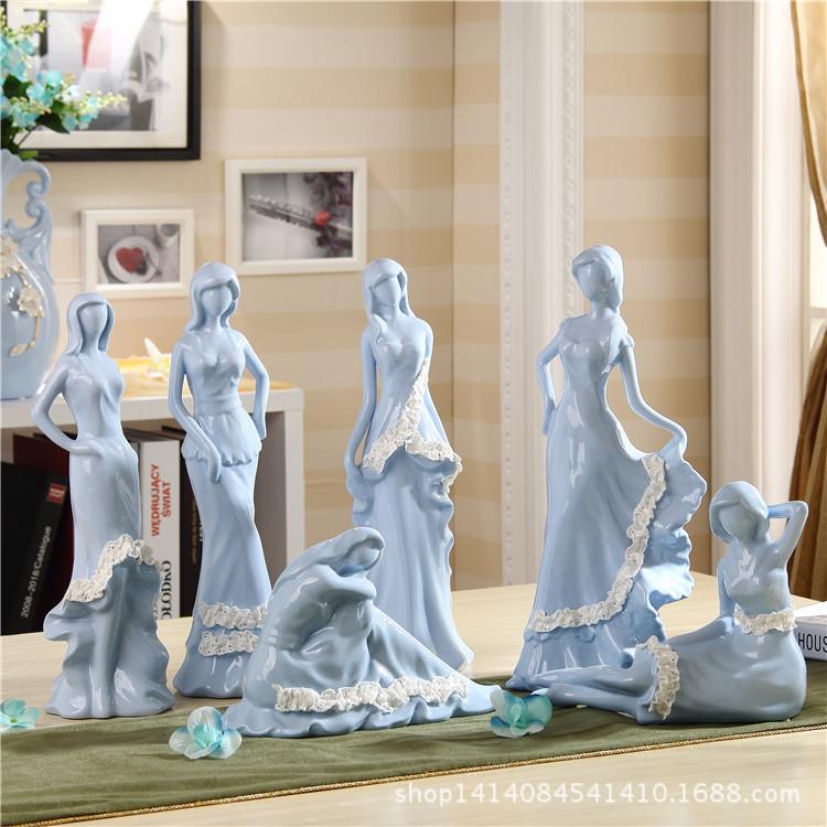 欧式陶瓷动物人物摆件家居电视柜客厅装饰品摆设创意简约结婚礼物