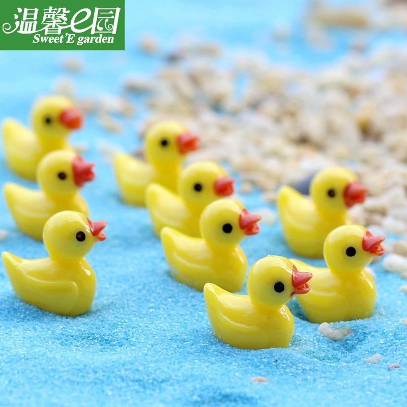 小黃鴨 公仔玩具掛件  苔蘚微景觀擺件 樹脂工藝品 創意擺件飾品