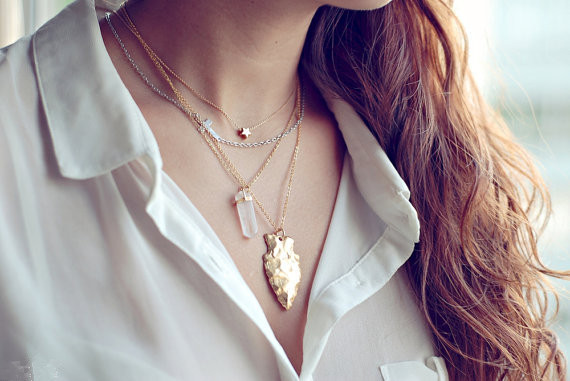 Simple personality glass crystal stone necklace NHXR158294