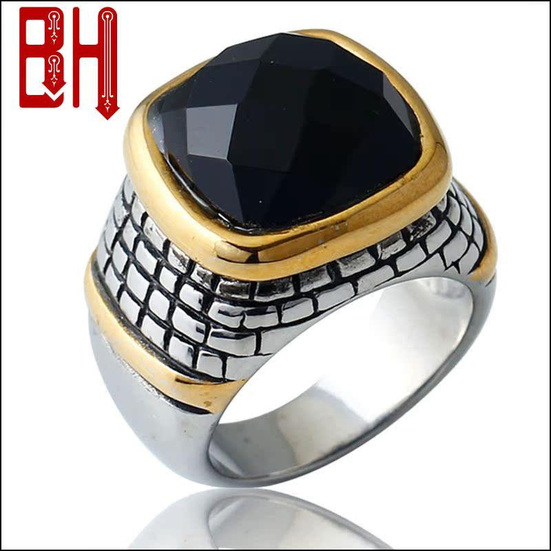 BOHO钛钢土豪金高大上男士钛钢戒指  镶嵌玛瑙简约大方杂志款饰品
